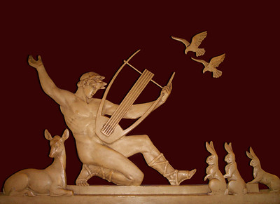 Orpheus. Wall relief from the dining room of the heritage-listed Art Deco-period Paragon Cafe, Katoomba, New South Wales, Australia.