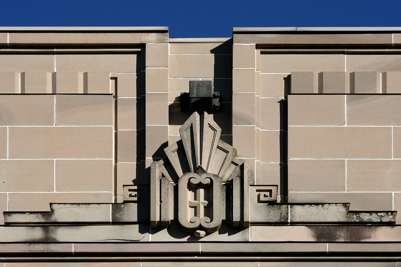 Main entrace parapet detail, Patents Office, Canberra. The building is now occupied by the Federal Attorney General's Department, and is  known as the Robert Garran Offices.