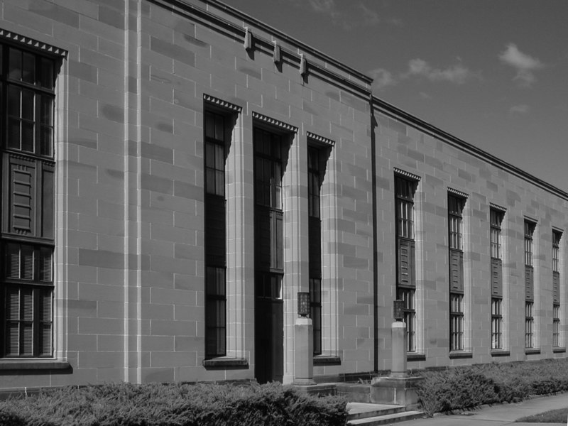 Side entrance, Patents Office, Canberra. The building is now occupied by the Federal Attorney General's Department, and is  known as the Robert Garran Offices (b&w version).