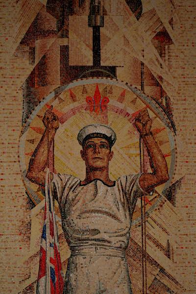 Australian War Memorial; Sailor: Hall of Memory wall mosaic (detail), by M Napier Waller.