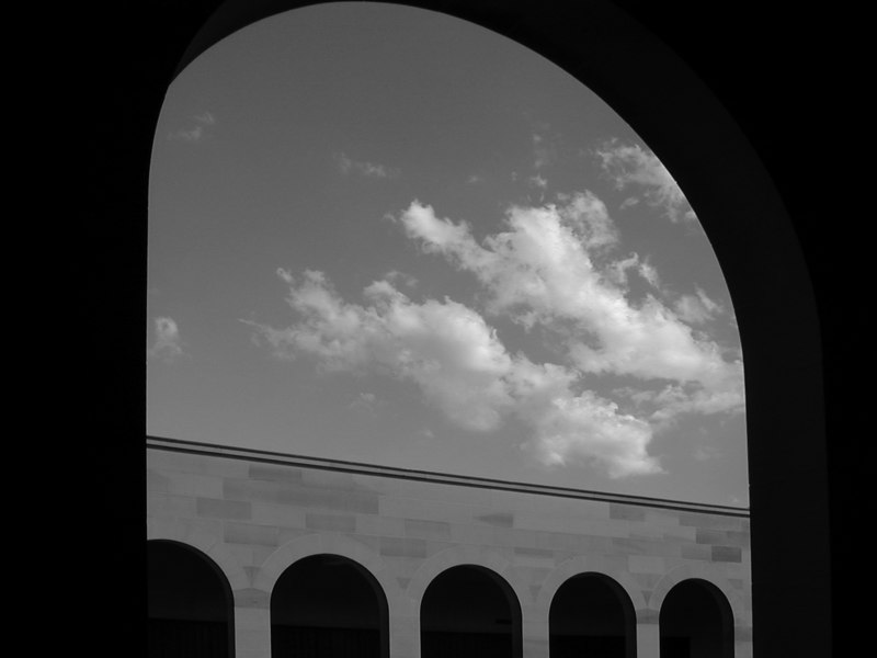 Arcade detail, Australian War Memorial, Canberra (b&w version).