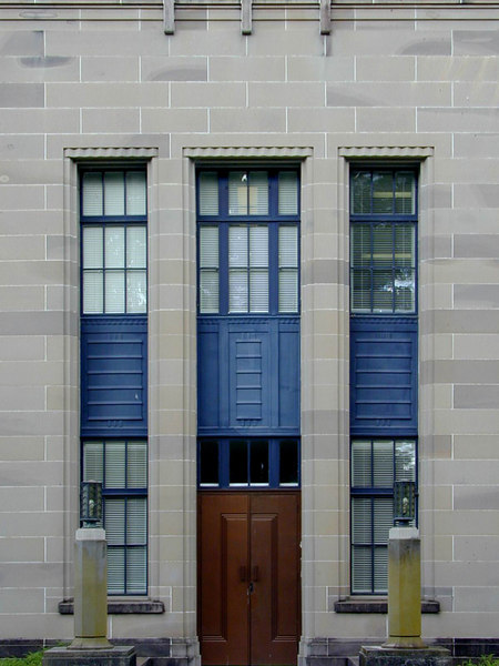 Side entrance, Patents Office, Canberra. The building is now occupied by the Federal Attorney General's Department, and is  known as the Robert Garran Offices.