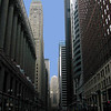 La Salle Street, Chicago. View to the south, facing the Chicago Board of Trade, with tower of Foreman State National Bank Building visible at centre left. Chicago City Hall is the columned building at far left.