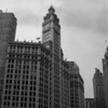 Central downtown Chicago, with the Wrigley Building (centre) and Chicago Tribune Building (right) (b&w version).