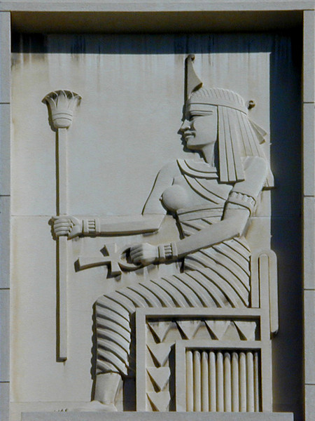 Detail of a relief on the exterior of the National Insurance of Egypt Building, An-Nabi Danial Street, Alexandria. Just what a bare-breasted 1930s-style Cleopatra has to do with the staid business of insurance is anyone's guess.