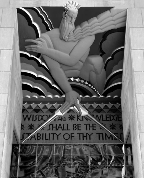 """Wisdom & Knowledge Shall be the Stability of thy Times"". Entranceway relief sculpture by Lee Lawrie, RCA Building, Rockefeller Centre (b&w version)."