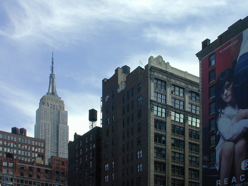 Downtown view of the Empire State Buiilding.