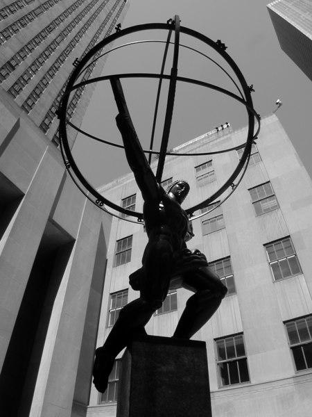 """Atlas"" by Lee Lawrie, Rockefeller Centre (b&w version)."