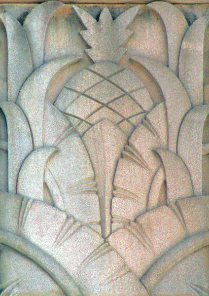 30 July 2014: Former Commercial Banking Company of Sydney Building, corner of Brunswick and Ann Streets, Fortitude Valley, Brisbane, Queensland; parapet relief panel with palm leaves and pineapple.