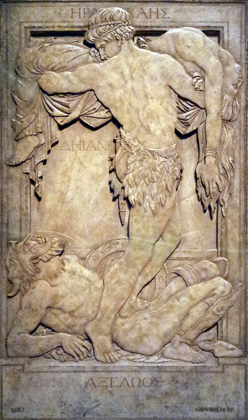 6 April 2013: Hercules, Achelous and Deianeira. Relief sculpture by Rainer Hoff, 1920. From the collection of the Queensland Art Gallery.