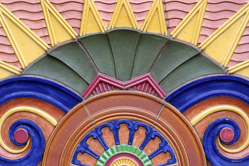 Elmslea Chambers, 17 Montague Street, Goulburn, New South Wales, Australia: terracotta spandrel relief detail.