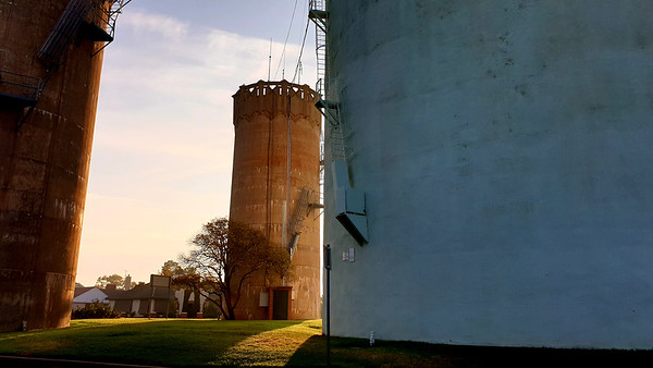 12 February 2020: Walter Burley-Griffin-designed water towers, Leeton, New South Wales.
