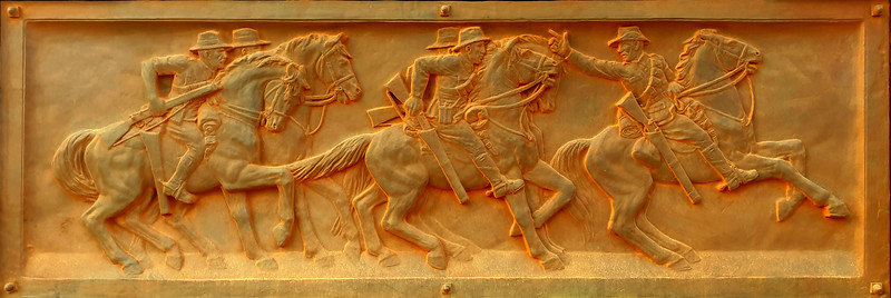 """03 February 2020: Dubbo War Memorial, Dubbo, New South Wales. """"Charge of the Light Horse"""", bronze plaque."""