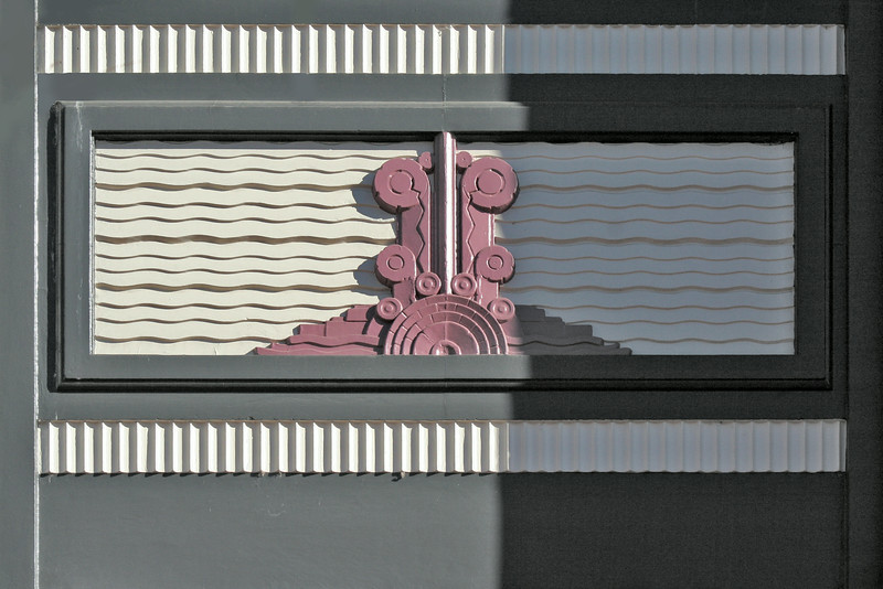 27 July 2014: Detail of entrance portal moulding, former Commonwealth Bank of Australasia building, Armidale, New South Wales.