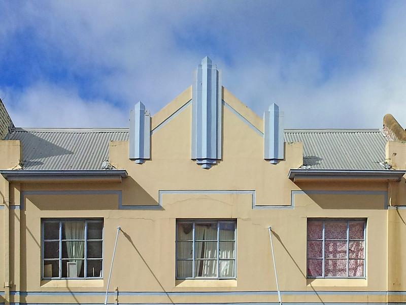 19 July 2014: Shopfront parapet, Katoomba Street, Katoomba, New South Wales.