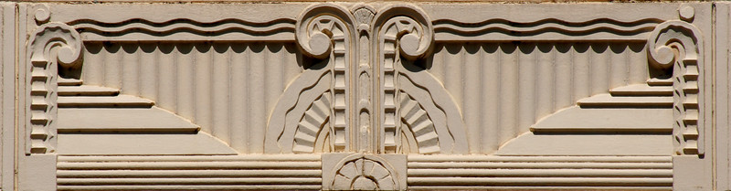 Central facade moulding detail, Commonwealth Bank of Australasia, Goulburn Street, Crookwell, New South Wales, Australia.