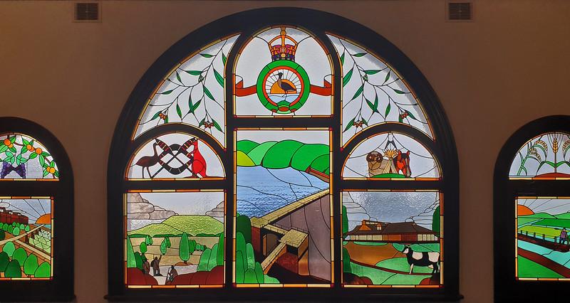 11 February 2020: Hydro Hotel, Leeton, NSW. Stained glass windows in the upper vestibule depicting Burrinjuck Dam and farming in the Murrumbidgee Irrigation Area.
