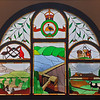 11 February 2020: Hydro Hotel, Leeton, NSW. Stained glass windows in the upper vestibule depicting Burrinjuck Dam and farming in the Murrumbidgee Irrigation Area.