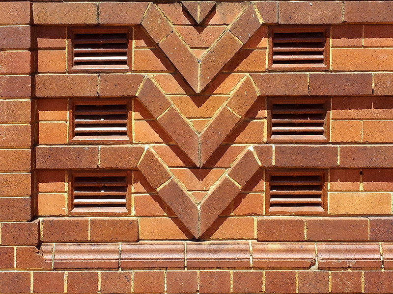 19 October 2013: Former bank building; facade detail with chevron motif, Taree, New South Wales.