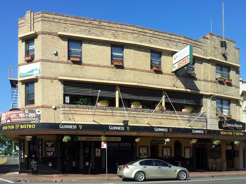 19 October 2013: Former Imperial Hotel (now Shenanigans Irish Pub), Maitland, New South Wales. The building is a Victorian-era structure that was given an exterior Art Deco makeover during the 1930s.