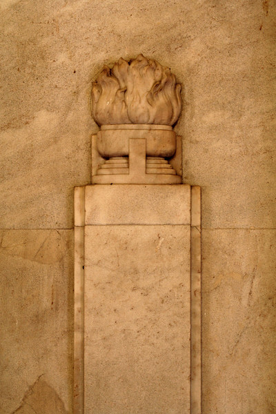 ANZAC War Memorial, Sydney. Enflamed cauldron; detail of interior wall relief.