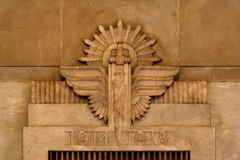 ANZAC War Memorial, Sydney. Interior detail showing the lintel of the doorway which opens onto the vestibule housing the Eternal Flame.