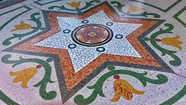 16 April, 2014:  Dymocks Building, 428 George St, Sydney. Entrance vestibule terrazzo floor detail.