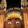 Luna Park is Sydney's harbourside amusement park, and dates to 1935. Its entrance towers bear a marked resemblance to New York's Chrysler Building.