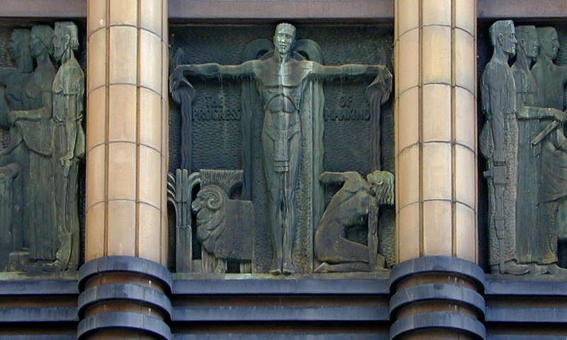 The Progress of Mankind. Bronze relief sculpture, Metropolitan Water, Sewerage and Drainage Board Building, 339-341 Pitt Street, Sydney.