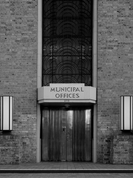 Entrance to municipal offices, Heidelberg Town Hall (b&w version).