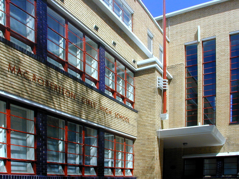 Main entrance, MacRobertson Girls High School, Melbourne.