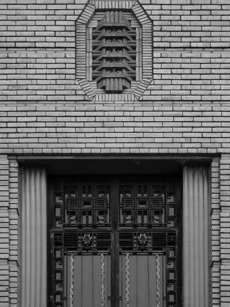 Entrance detail, 2nd Church of Christ Scientist (b&w version).
