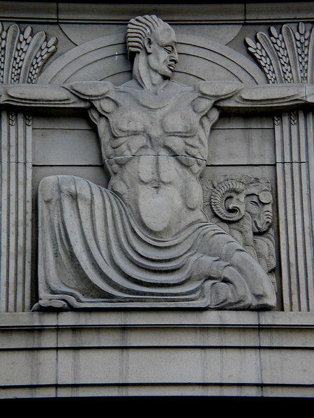 Relief sculpture detail, National Bank of Australasia, Collins Street, Melbourne.