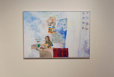 "Jenn Gulgren, ""My Own Water,"" 2018, mixed media and oil on panel"