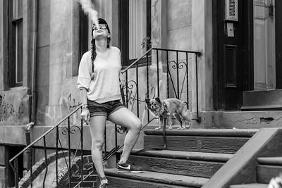 Smoking Girl And Dog