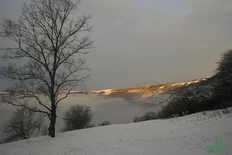 Заліщики 2014, грудень, 12.  В долині - ранок, в верхньому парку вже день