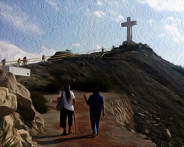 Pilgrimage - Mount Cristo Rey, El Paso, TX - Oil Painting