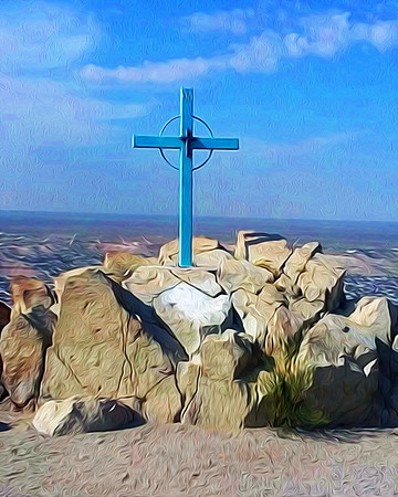 Station 14 Skyline - Mount Cristo Rey, El Paso, TX - Oil Painting