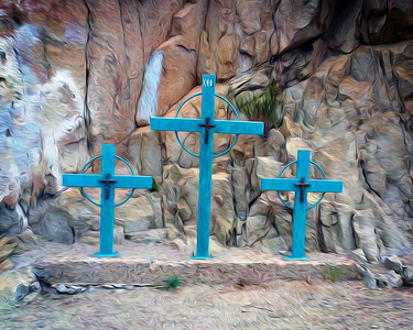 Tres Cruces - Mount Cristo Rey, El Paso, TX - Oil Painting