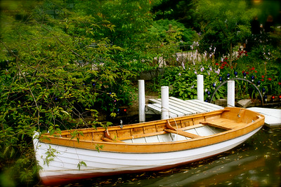 Row boat in the garden