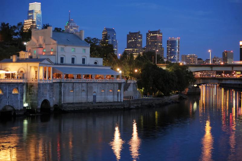 Philadelphia Waterworks just after sunset.