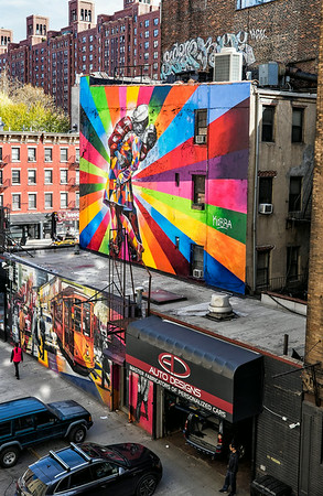Girl walking away - View from the High Line NYC