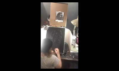 Time Lapse Video of Sally Making Subtractive Value Charcoal Drawing of Anthony