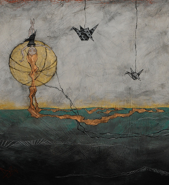 Paper Moon 2012 Mixed Media on Wood Sold