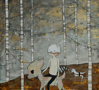 The White Rabbit 2011 Mixed Media on Wood Sold