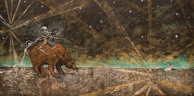 Ursa Major II // Hear Full of Stars  2014 Mixed Media & Constellation Maps on Wood Sold