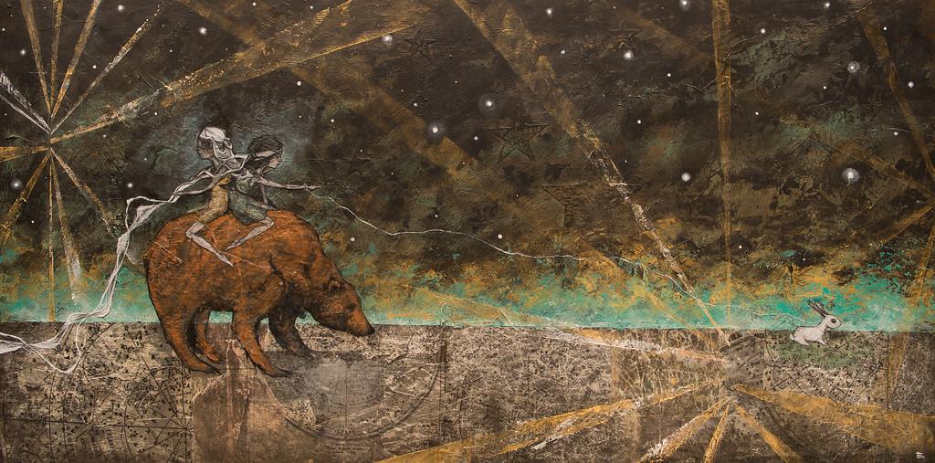 Ursa Major II // Hear Full of Stars <br /> 2014<br /> Mixed Media & Constellation Maps on Wood<br /> Sold