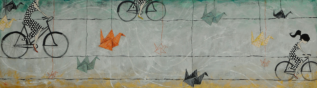 Paper Birds & Bicycles 2011  Mixed Media and Papers on Wood Sold