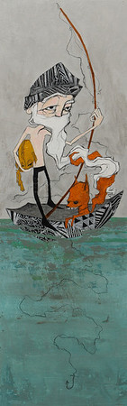The Fisherman 2012 Mixed Media on Wood