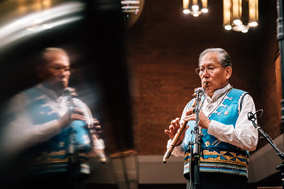 R. Carlos Nakai Playing Native American Flute, 2017 (Use with Permission by Canyon Records)